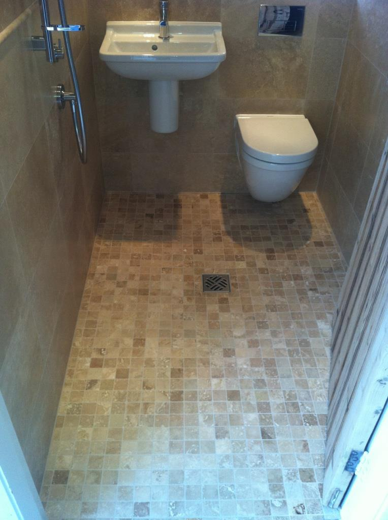Travertine Cloakroom Wetroom - Cambridge - CBWR