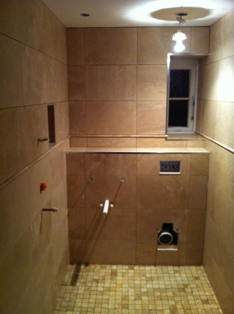 Travertine cloakroom wetroom cambridge cbwr for Bathroom design cambridge